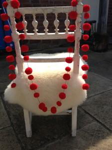 PomPom Galore Red wool pompom garland